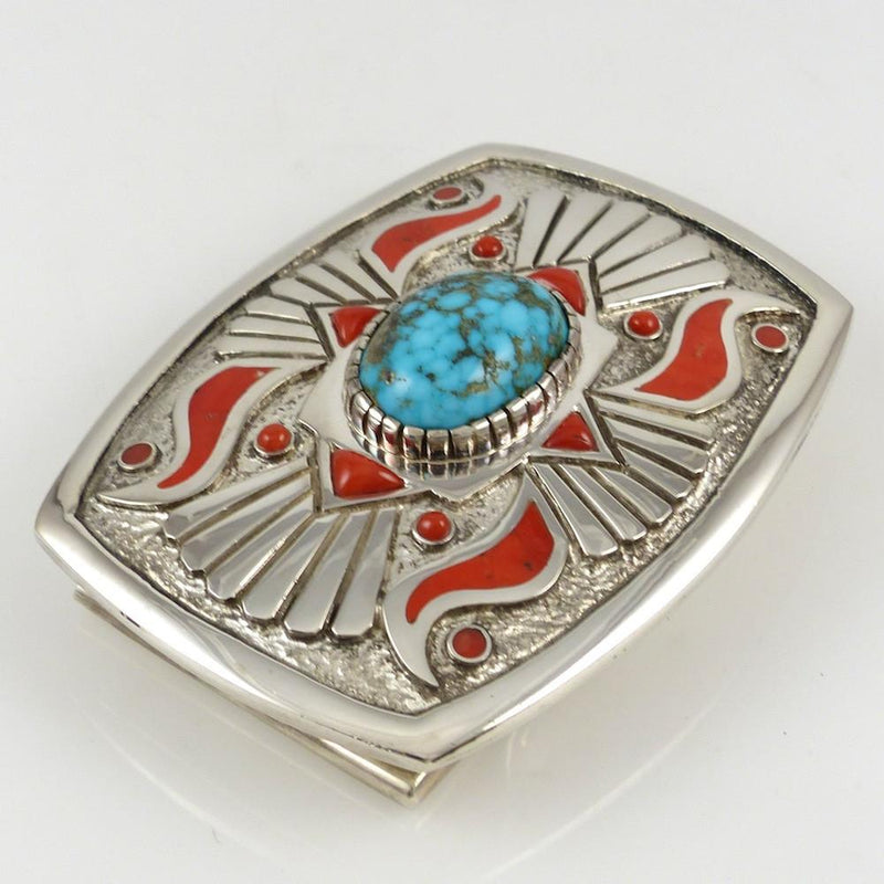 Kingman Turquoise and Coral Buckle - Jewelry - Michael Perry - 2