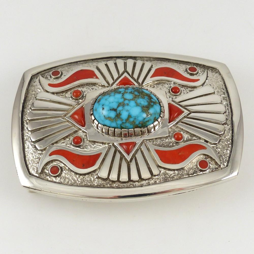 Kingman Turquoise and Coral Buckle - Jewelry - Michael Perry - 1