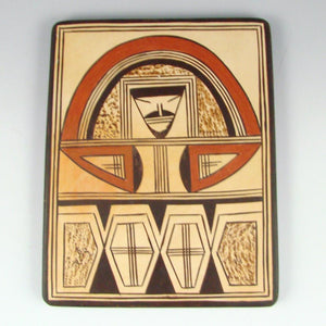 Pottery Tile with Polychrome Face Design - Pottery - Rachel Sahmie