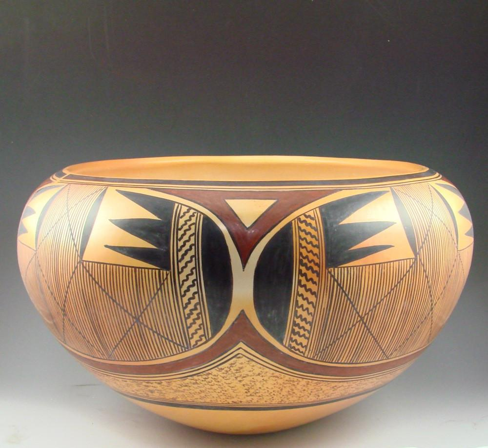 Hopi Bowl With Batwing And Migration Patterns By Jean