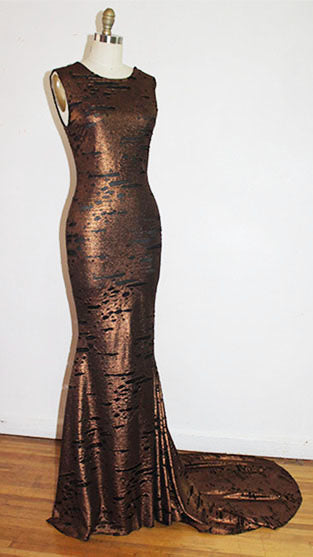 Felicia 1930's Inspired Gold And black Stretched Rusted Sleeveless Gown