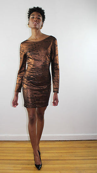 Tania Long Sleeve Rusted Gold And Black Jersey Fitted Cocktail Dress