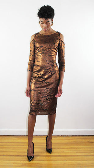 Farah 3/4 Sleeve Rusted Gold And Black Jersey Fitted Cocktail Dress