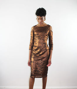 Cold Shoulder  Fitted Rusted Gold And Black   Stretched Mesh    Dress