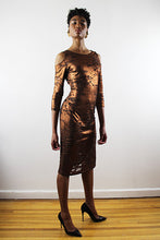 Load image into Gallery viewer, Farah 3/4 Sleeve Rusted Gold And Black Jersey Fitted Cocktail Dress