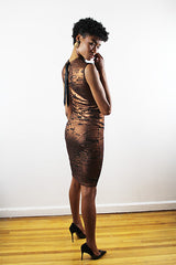 Sarafina Rusted Gold And Black Jersey Sleeveless  Short Dress