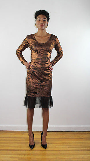 Fabiola Rusted Gold And Black Jersey Long Sleeves Dress Lordana