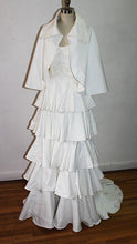 Load image into Gallery viewer, Carola Off White Vintage Silk Brocade and Organza Cape With Over Size Collar