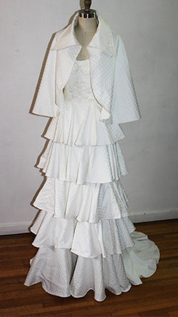Carola Off White Vintage Silk Brocade and Organza Cape With Over Size Colla