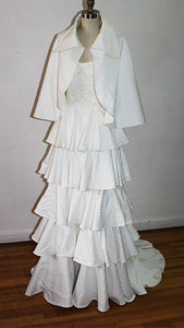 Carola Off White Vintage Silk Brocade and Organza Cape With Over Size Collar