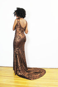 FELICIA - RUST 1930'S INSPIRED GOWN