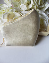 Load image into Gallery viewer, RONICA Bridal Face Mask,  Beige Satin Silk With Gold Speckles Face Mask