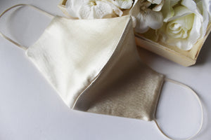 RONICA Bridal Face Mask,  Beige Satin Silk With Gold Speckles Face Mask