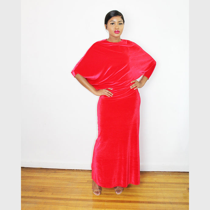 Lordana Red Stretched Velvet maxi Dress