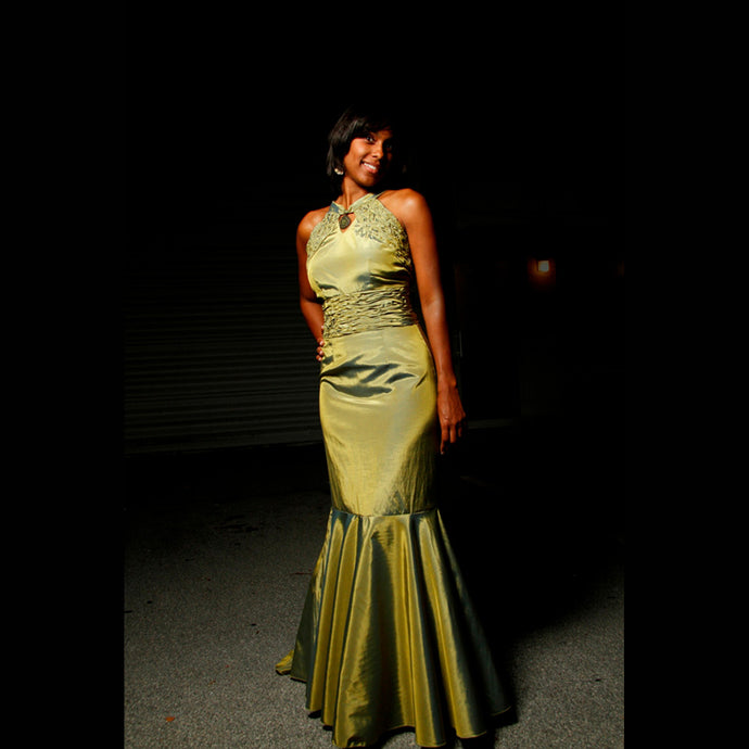 ESPERANZA -  PEA GREEN  1920'S INSPIRED STYLE EVENING GOWN