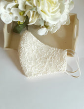 Load image into Gallery viewer, Beige Bridal Lace Face Mask With Pouch Holder