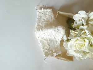 Beige Bridal Lace Face Mask With Pouch Holder
