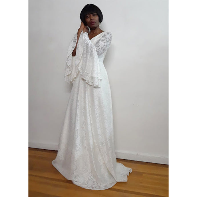 Lorna- Long Bell Sleeves Off White V-Shape Neckline  Lace Bridal Gown