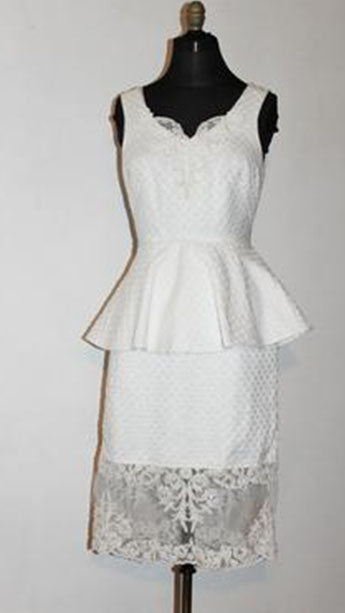 Elsa Vintage Silk Brocade and Lace Sleeveless Short  Dress