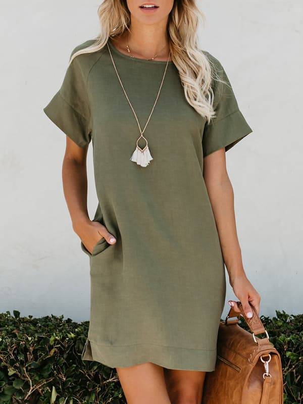 Chellysun Casual Solid Simple Short Dress