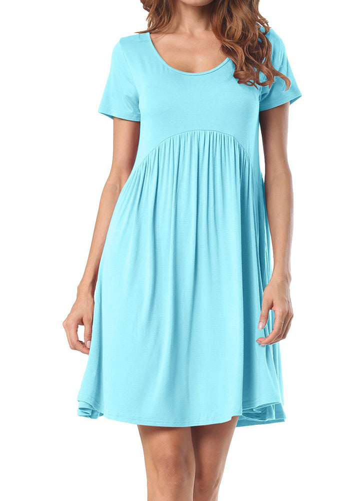 Chellysun Round Neck Short Pleated Dress