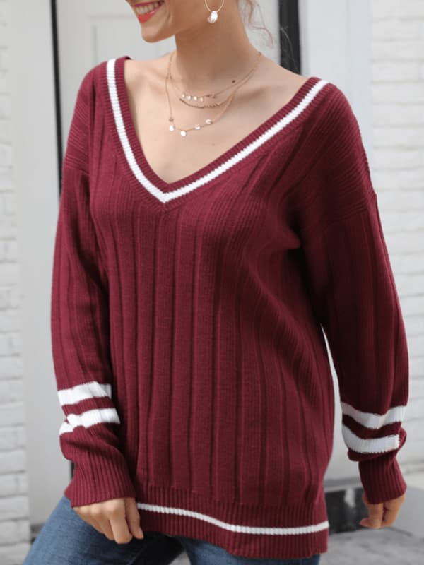 Chellysun Women V-Neck Knit Pullover