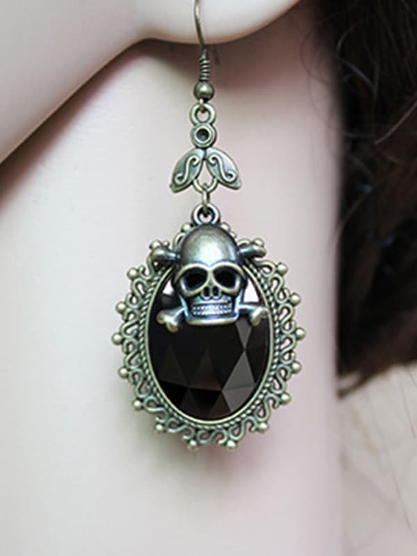 Chellysun Halloween Skull Design Drop Earrings