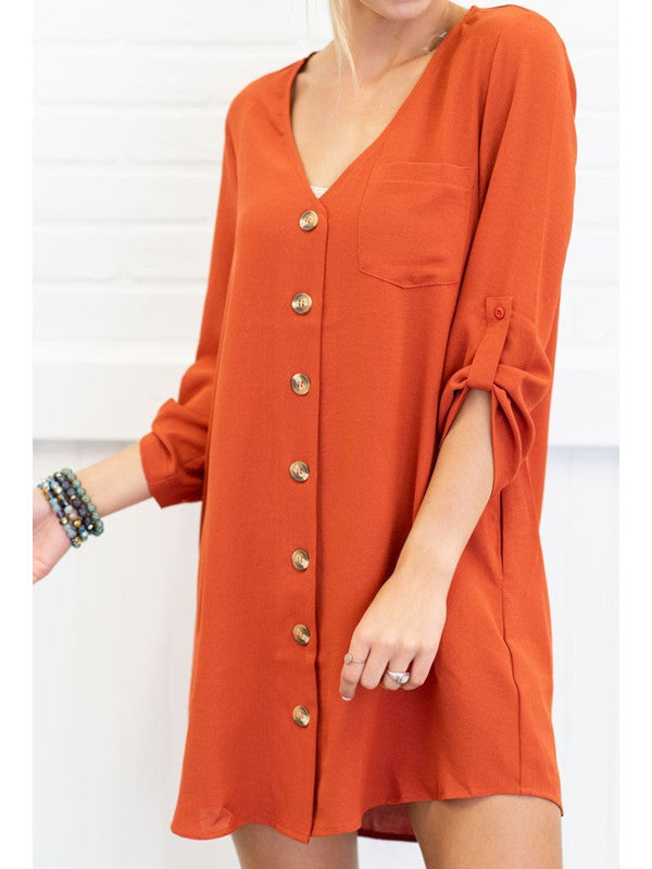 Chellysun Long Sleeve Casual Dress With Button
