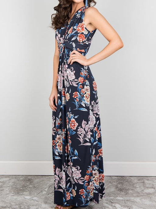 Chellysun Casual Floral Sleeveless Long Dress