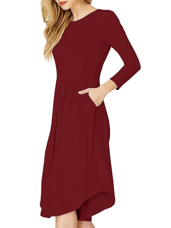 Chellysun Long Sleeve Pleated Swing Dress