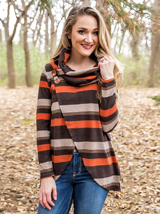 Chellysun Striped Colorful Irregular Hem Sweater