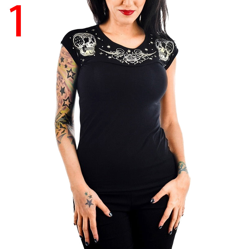 Chellysun Short-sleeved O-neck Slim Waist Punk T-shirts