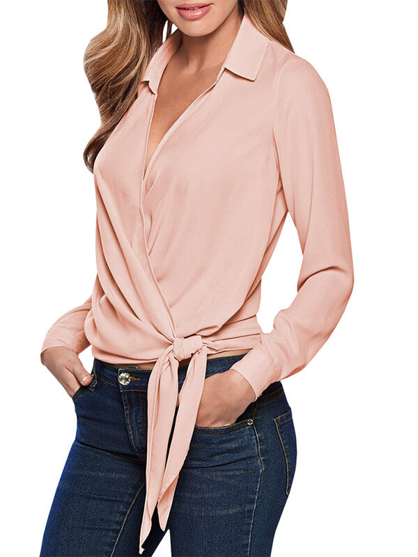 Chellysun V neck Long Sleeve Tie Blouse