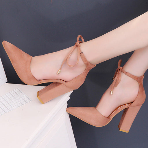 Chellysun Strap Pump Point Toe Chunky Heels