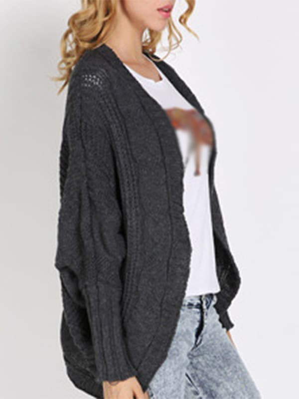 Chellysun Bat Sleeve Asymmetrical Cardigan