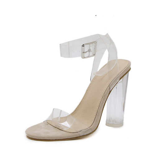Chellysun Ankle Strap Peep Toe Heeled Sandals
