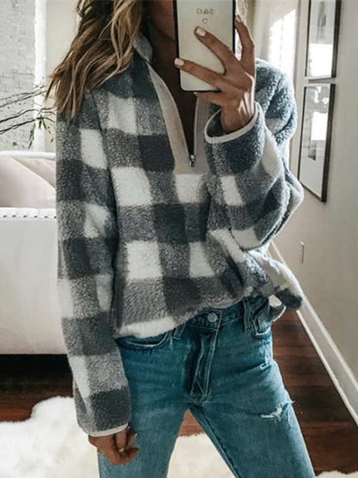 Chellysun Plaid Zipper Closure Pullover