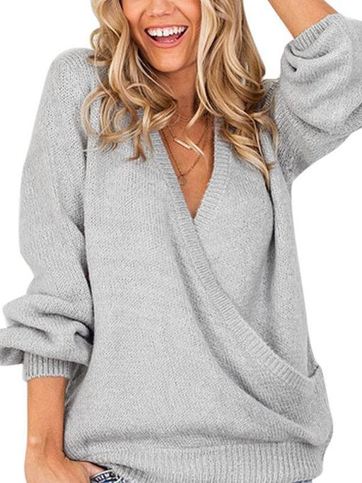 Chellysun Deep V-Neck Wrap Front Loose Sweater