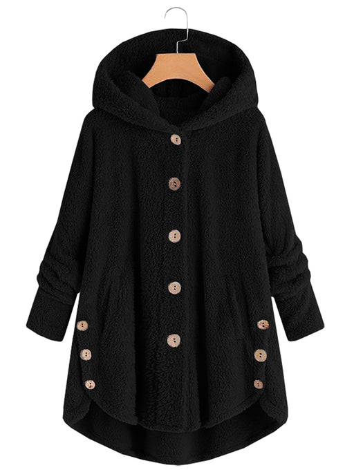Chellysun Fashion Button Faux Fur Coat