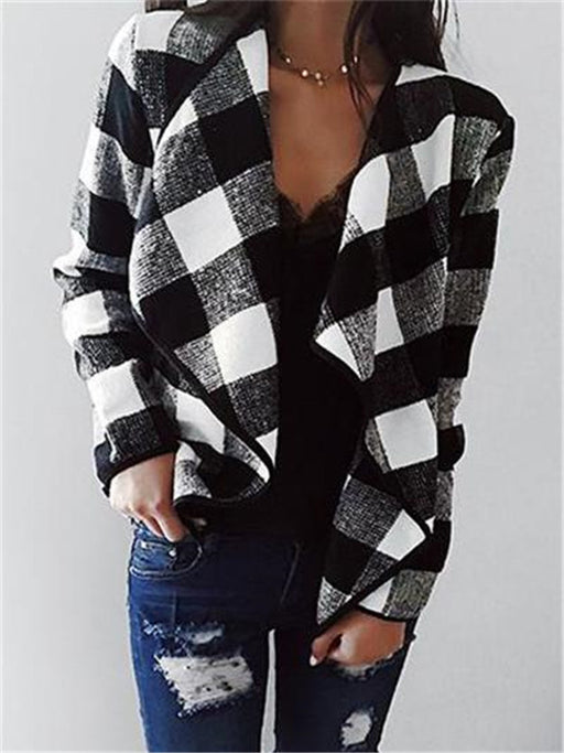 Chellysun Open Front Turn-down Collar Plaid Coat
