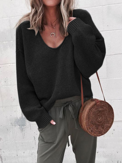 Chellysun Oversized Knitted V-Neck  Pullovers