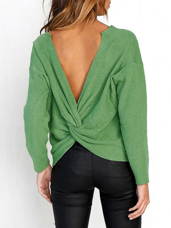 Chellysun Reversible Green Knitting Sweaters