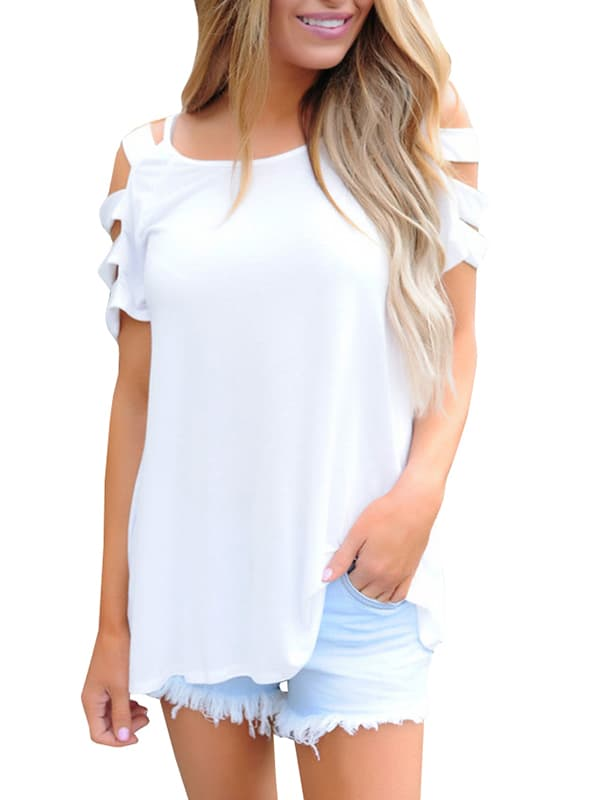 Chellysun Casual Solid Short Sleeve Tops