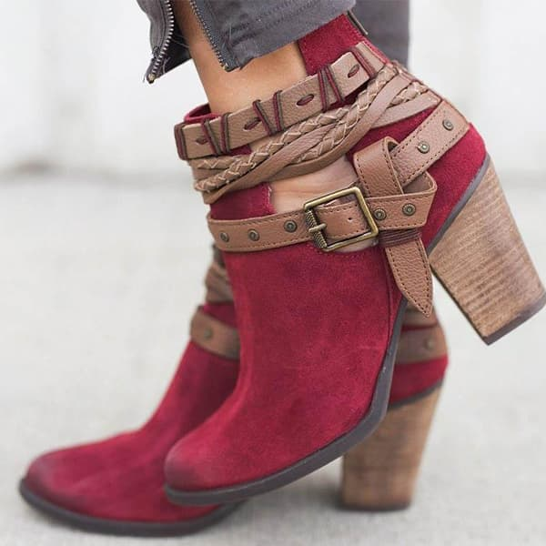 Chellysun Flocking Adjustable Buckle Boots