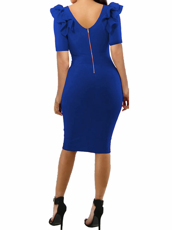 Chellysun Women Sexy Puff  Zip Bodycon Party Dress