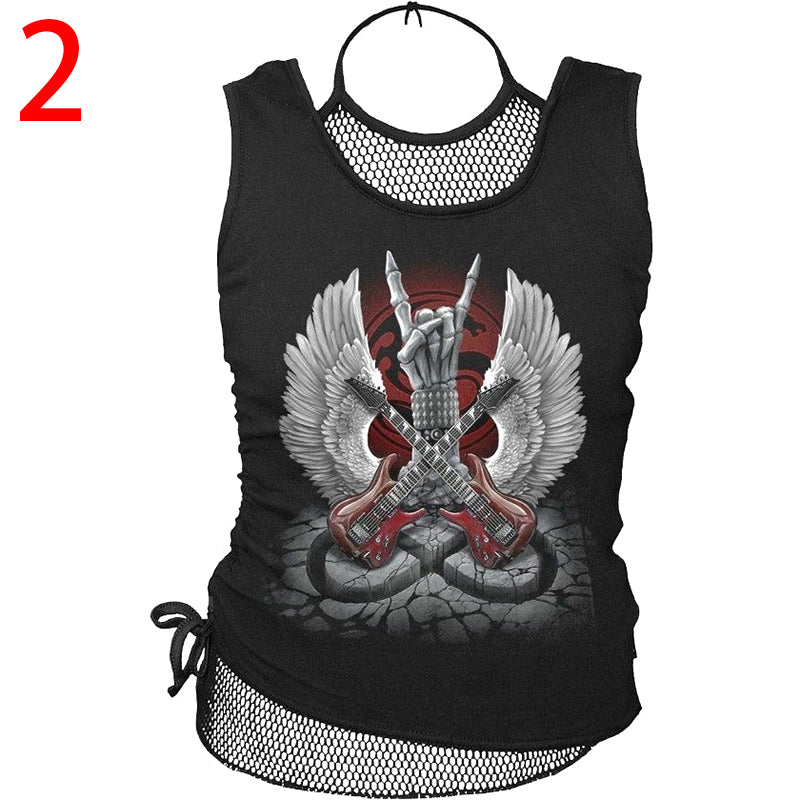 Chellysun Punk Style Fishnet Sleeveless Round Neck T-shirt