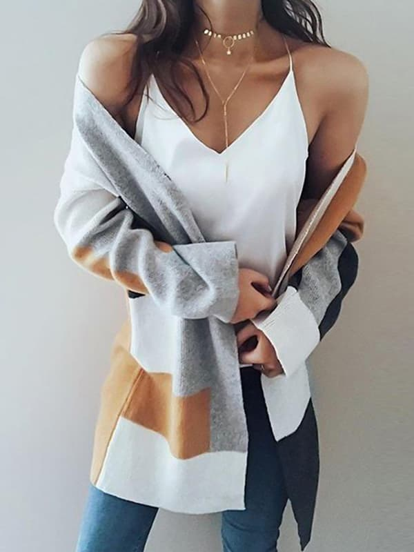 Chellysun Knit Multi color Long Sleeve Cardigan