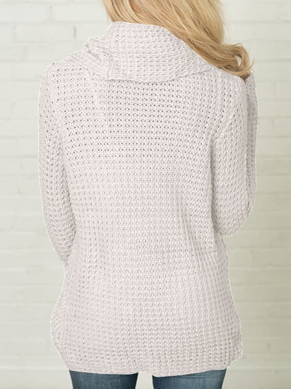 Chellysun Buttoned Knitted Turtle Neck Sweater