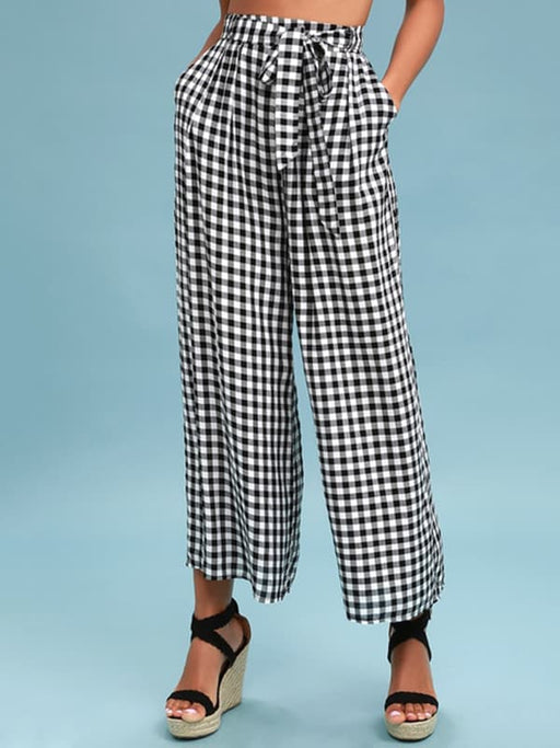 Chellysun Black And White Gingham Culotte Pants