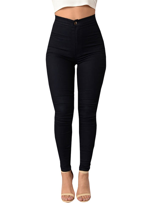 Chellysun Waist Solid Color Thin Slim Pencil Pants - Chellysun